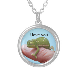 Baby chameleon perspective silver plated necklace