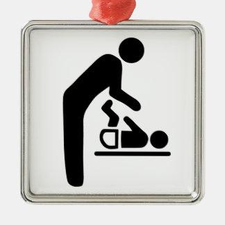 Baby Change Symbol Square Metal Christmas Ornament