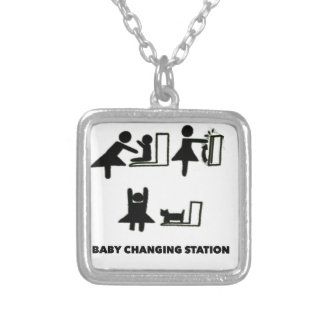 Baby Changing Station Square Pendant Necklace