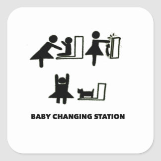 Baby Changing Station Square Sticker