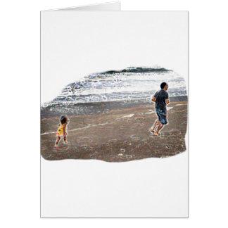Baby Chasing Man on Beach Art Card