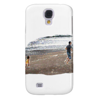 Baby Chasing Man on Beach Art Galaxy S4 Case