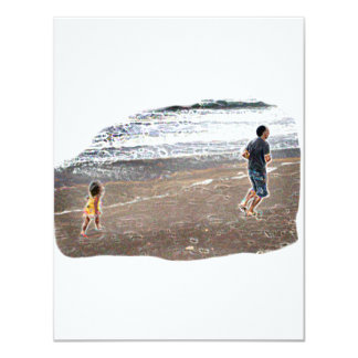 Baby Chasing Man on Beach Art 4.25x5.5 Paper Invitation Card