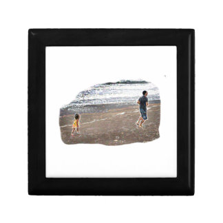 Baby Chasing Man on Beach Art Jewelry Box