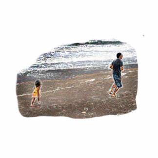 Baby Chasing Man on Beach Art Photo Cut Outs