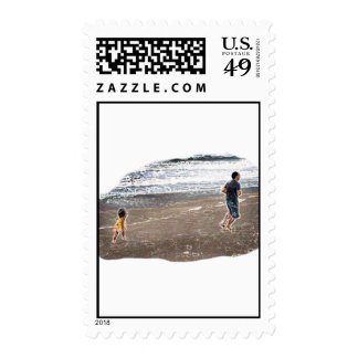 Baby Chasing Man on Beach Art Postage Stamps