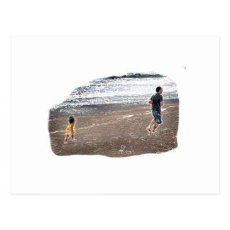 Baby Chasing Man on Beach Art Postcard