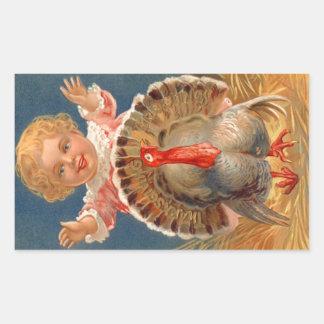 Baby Chasing Tom Turkey Vintage Sticker