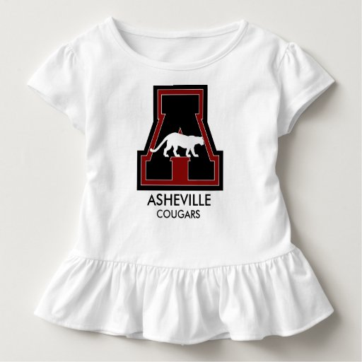 Baby cheerleader w asheville coug on a toddler t shirt for Asheville t shirt company