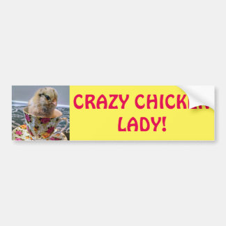 Baby Chick Crazy Chicken Lady Bumper Sticker