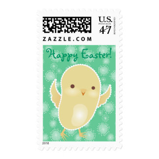 """Baby Chick """"Happy Easter"""" Custom Postage Stamps"""