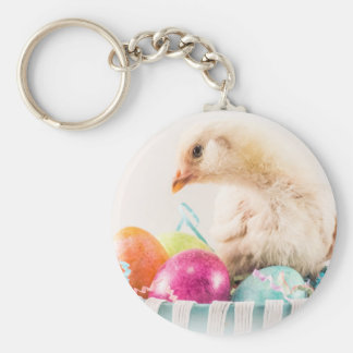 Baby Chick in Easter Basket Basic Round Button Keychain