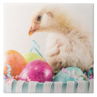 Baby Chick in Easter Basket Ceramic Tile