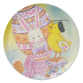 Baby Chick Paints Rabbit's Face on Easter Egg Melamine Plate