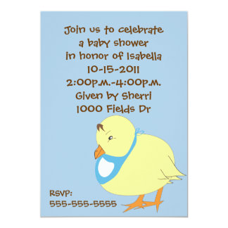 Baby Chick w/Blue Bib Baby Shower Invitation