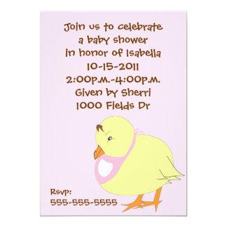Baby Chick w/Pink Bib Baby Shower Invitation