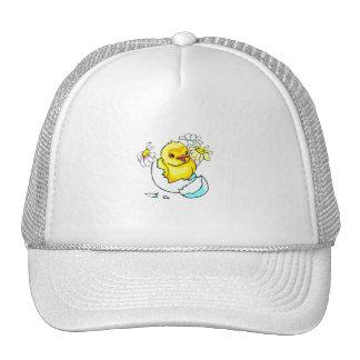 baby chicken hatching with daisy flowers trucker hat
