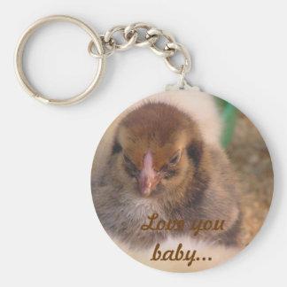 baby chickens basic round button keychain