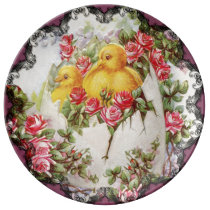 Baby Chicks and Roses Porcelain Plate