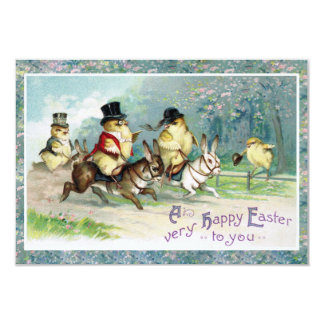 Baby Chicks on an English Hunt on Easter Morn' Card