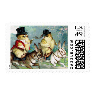 Baby Chicks on an English Hunt on Easter Morn' Postage