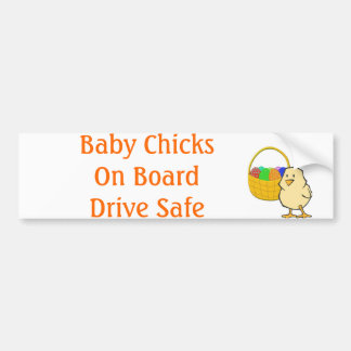 Baby Chicks on Board Easter chicken Bumper Sticker