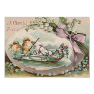 Baby Chicks Rowing Easter Invitation
