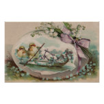 Baby Chicks Rowing Easter Print