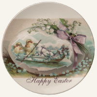 Baby Chicks Rowing Porcelain Dinner Plate