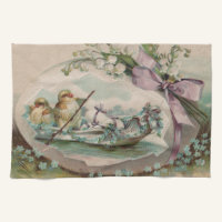 Baby Chicks Rowing Vintage Easter Kitchen Towel