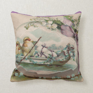 Baby Chicks Rowing Vintage Easter Pillow