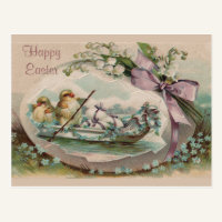 Baby Chicks Rowing Vintage Easter Postcard