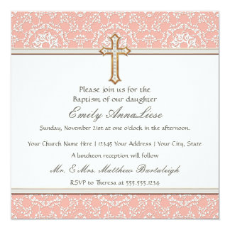 Baby Child Infant Baptism Gold Golden Cross Lace Card
