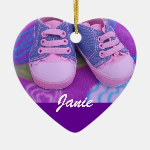 Baby Child's Name Ornament gifts Pink Shoes | Zazzle