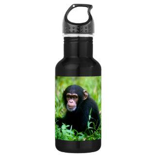 Baby Chimp in Grass 18oz Water Bottle