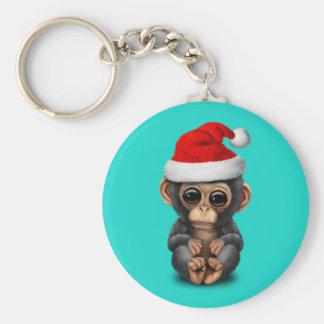 Baby Chimp Wearing a Santa Hat Keychain