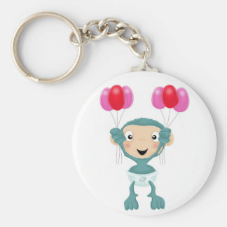 baby chimp with balloons basic round button keychain