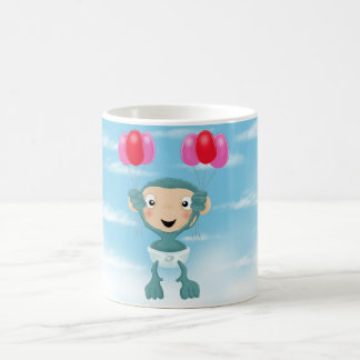 baby chimp with balloons coffee mug