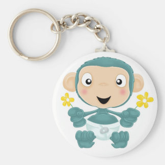 baby chimp with flowers basic round button keychain
