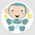 baby chimp with flowers round sticker