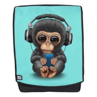 Baby Chimp with Headphones and Cell Phone Backpack