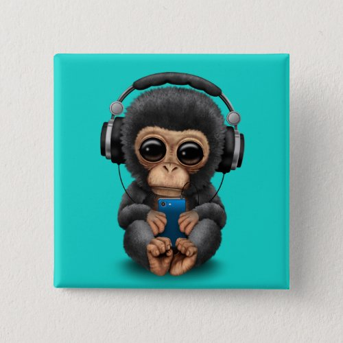 Baby Chimp with Headphones and Cell Phone Button