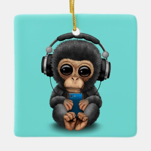 Baby Chimp with Headphones and Cell Phone Ceramic Ornament
