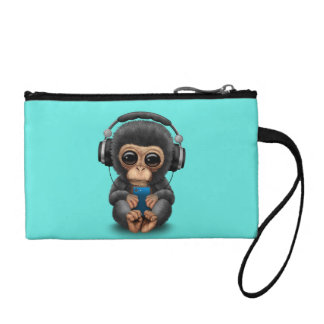 Baby Chimp with Headphones and Cell Phone Coin Wallet