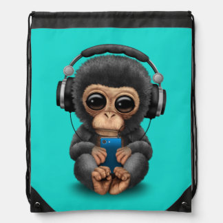 Baby Chimp with Headphones and Cell Phone Drawstring Bag