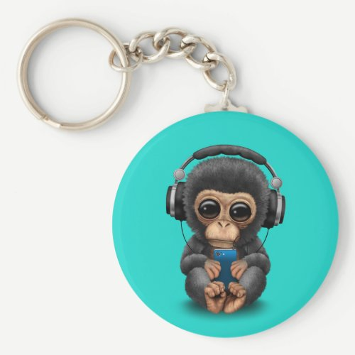 Baby Chimp with Headphones and Cell Phone Keychain
