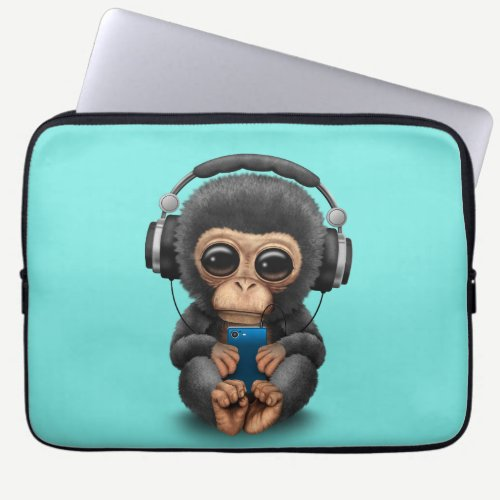 Baby Chimp with Headphones and Cell Phone Laptop Sleeve