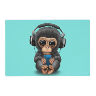 Baby Chimp with Headphones and Cell Phone Placemat