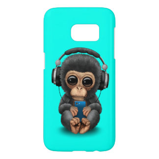Baby Chimp with Headphones and Cell Phone Samsung Galaxy S7 Case