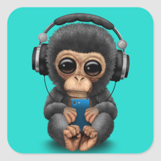 Baby Chimp with Headphones and Cell Phone Square Sticker